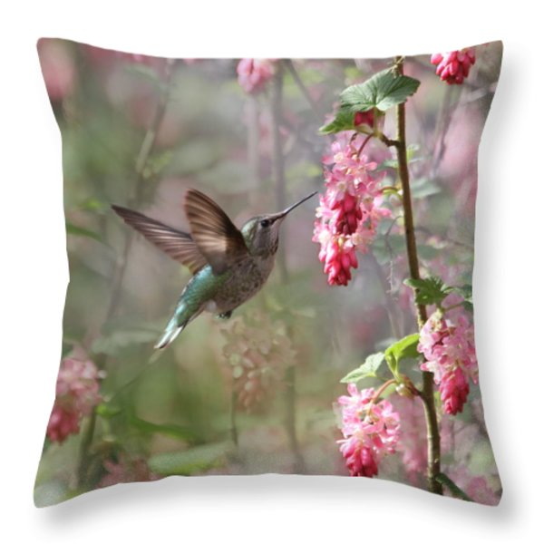 Hummingbird Heaven Throw Pillow by Angie Vogel