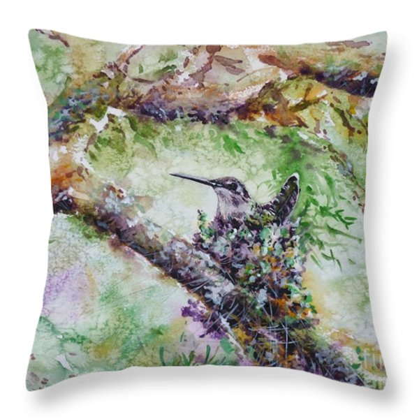 Hummingbird In The Nest Throw Pillow by Zaira Dzhaubaeva