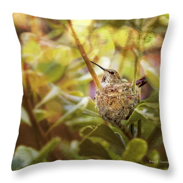 Hummingbird Mom In Nest Throw Pillow by Angela A Stanton