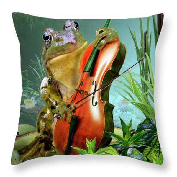 Humorous scene frog playing cello in lily pond Throw Pillow by Gina Femrite