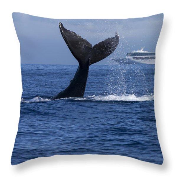Humpback Whale Tail Lobbing In Maui Throw Pillow by Flip Nicklin
