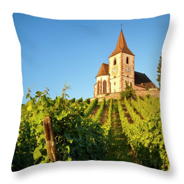 Hunawihr Church Throw Pillow by Brian Jannsen