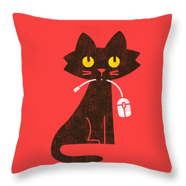 Hungry Hungry Cat Throw Pillow by Budi Satria Kwan