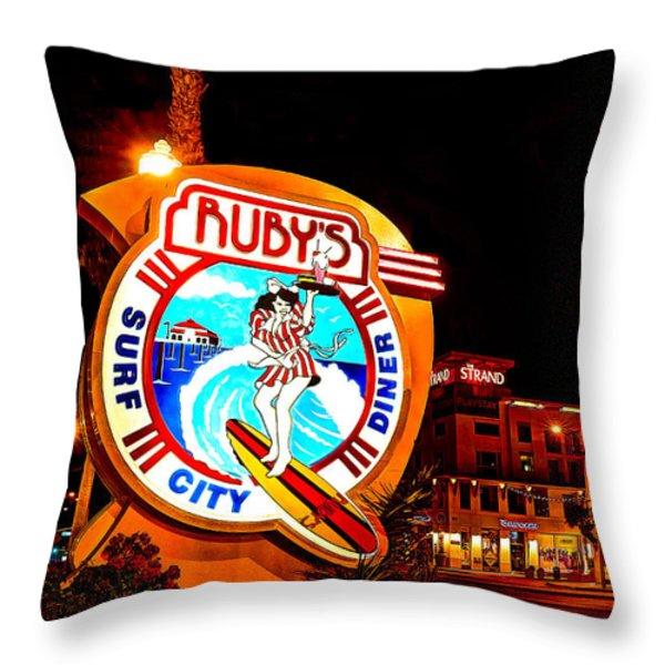 Huntington Beach Downtown Nightside 2 Throw Pillow by Jim Carrell