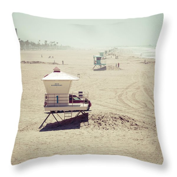 Huntington Beach Lifeguard Tower #1 Vintage Picture Throw Pillow by Paul Velgos