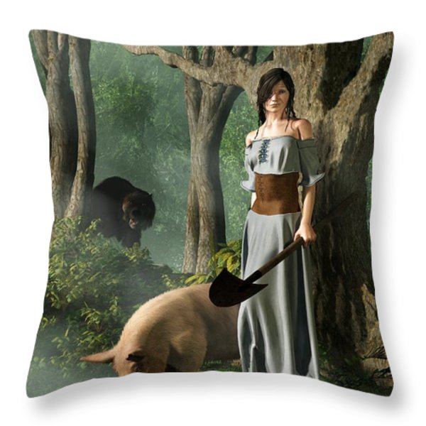 Huon The Truffle Hog Throw Pillow by Daniel Eskridge