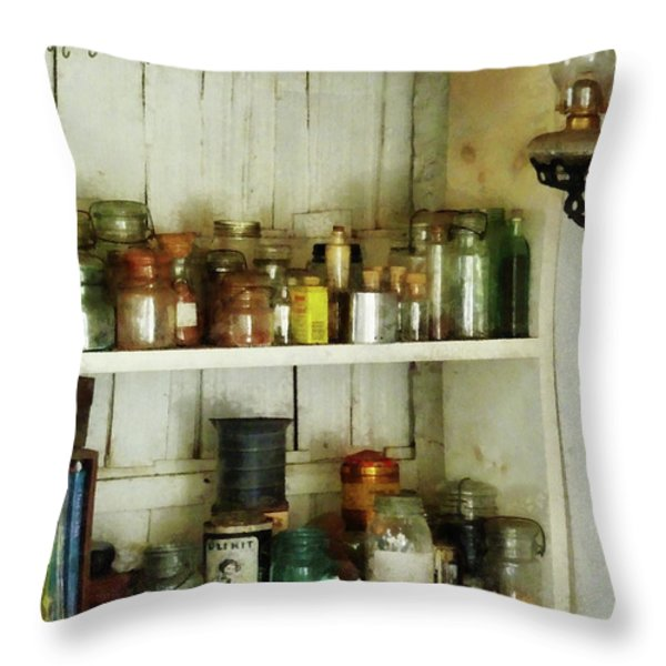 Hurricane Lamp In Pantry Throw Pillow by Susan Savad