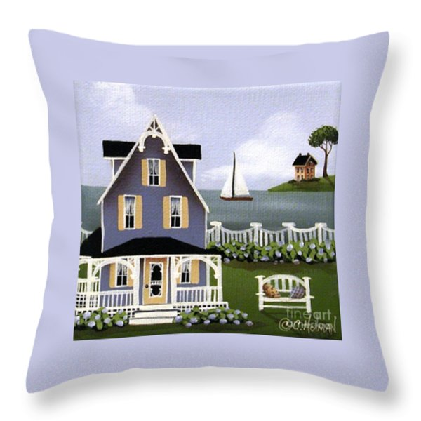 Hydrangea Cove Throw Pillow by Catherine Holman