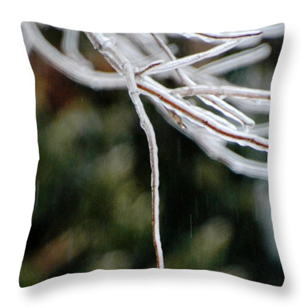 Hydrangea In The Rain Throw Pillow by AdSpice Studios