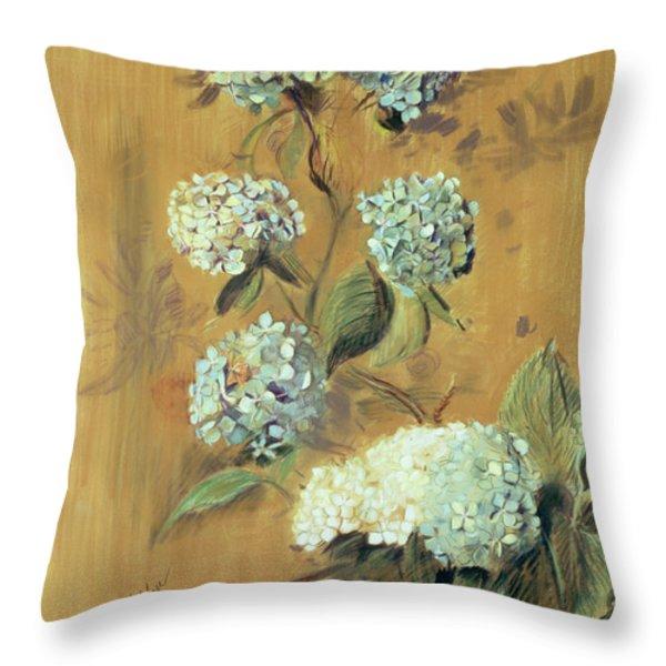 Hydrangeas Throw Pillow by Paul Cesar Helleu