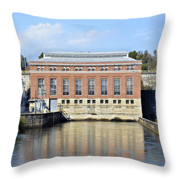 Hydroelectric Power Throw Pillow by Susan Leggett