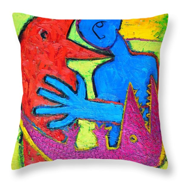 I Am Blue But Still Alive Do Not Eat Me Throw Pillow by Ana Maria Edulescu
