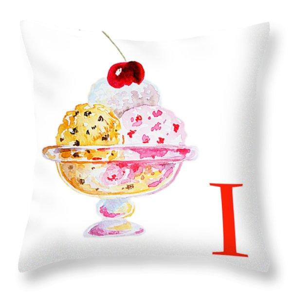 I Art Alphabet For Kids Room Throw Pillow by Irina Sztukowski