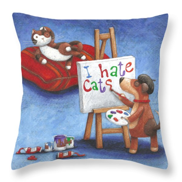 I Hate Cats Throw Pillow by Peter Adderley