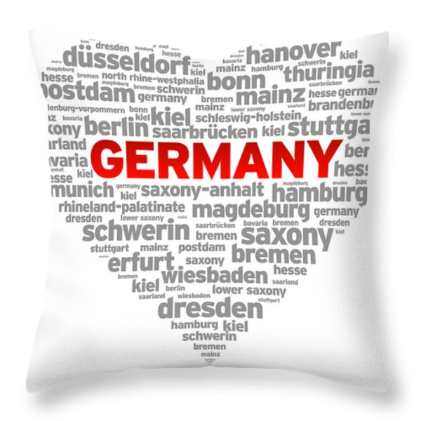 I Love Germany Throw Pillow by Aged Pixel