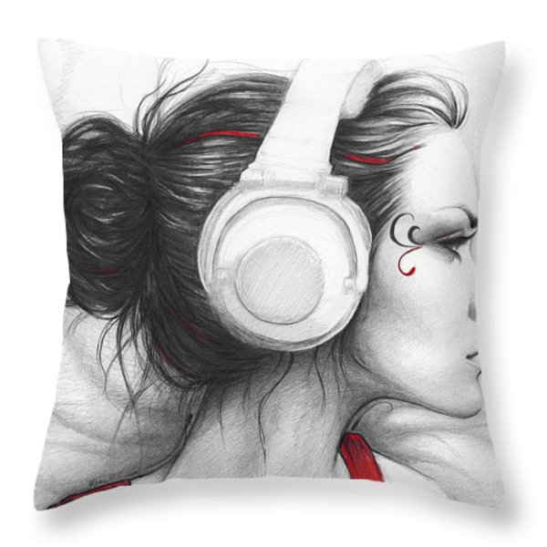 I Love Music Throw Pillow by Olga Shvartsur