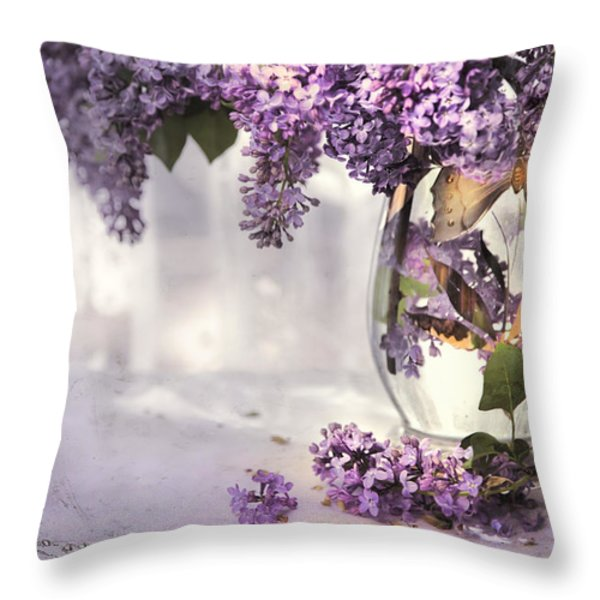 I PICKED A BOUQUET OF LILACS TODAY Throw Pillow by Theresa Tahara