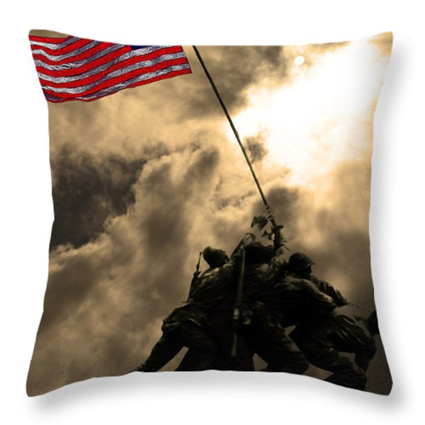 I Pledge Allegiance To The Flag - Iwo Jima 20130211v2 Throw Pillow by Wingsdomain Art and Photography