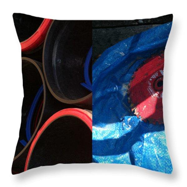 I saw a circular saw Throw Pillow by Marlene Burns