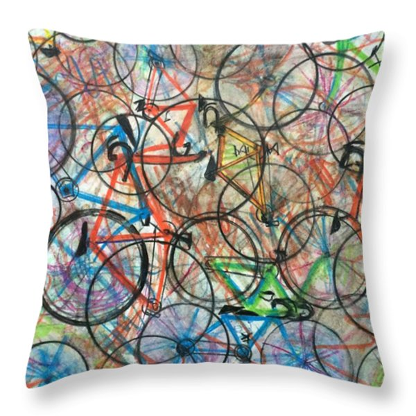 I Want To Ride My Bicycle Bicycle  Throw Pillow by Scott French
