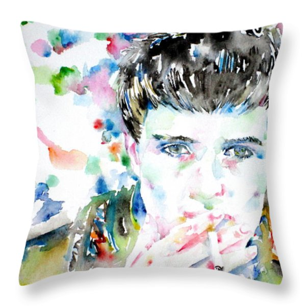 IAN CURTIS SMOKING CIGARETTE WATERCOLOR PORTRAIT Throw Pillow by Fabrizio Cassetta