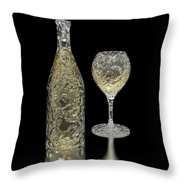 Ice Bottle And Glass Throw Pillow by Hakon Soreide