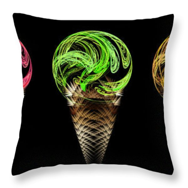 Ice Cream Cones 5 Flavors Throw Pillow by Andee Design