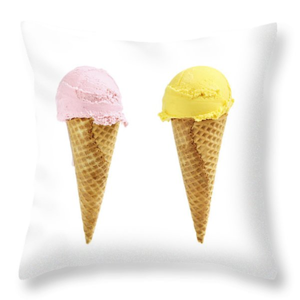 Ice cream in sugar cones Throw Pillow by Elena Elisseeva
