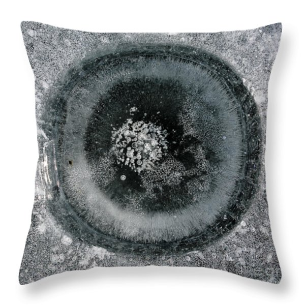 Ice Fishing Hole 9 Throw Pillow by Steven Ralser