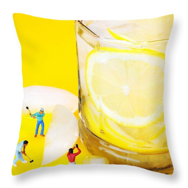 Ice Making For Lemonade Little People On Food Throw Pillow by Paul Ge