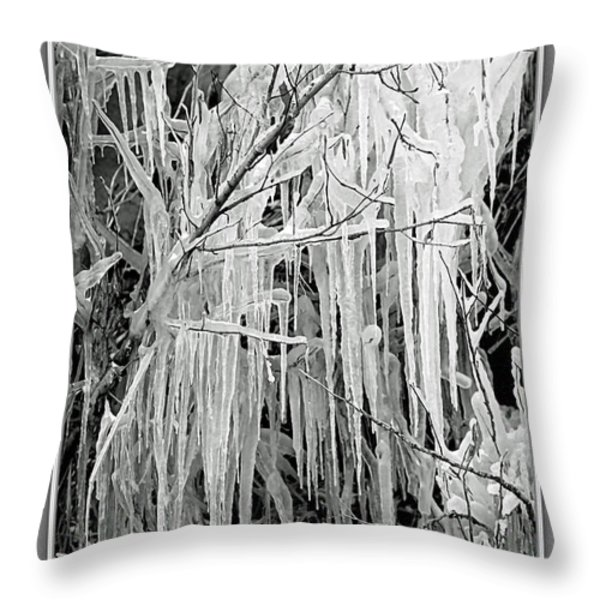 Icicles In Black And White Throw Pillow by Carol Groenen