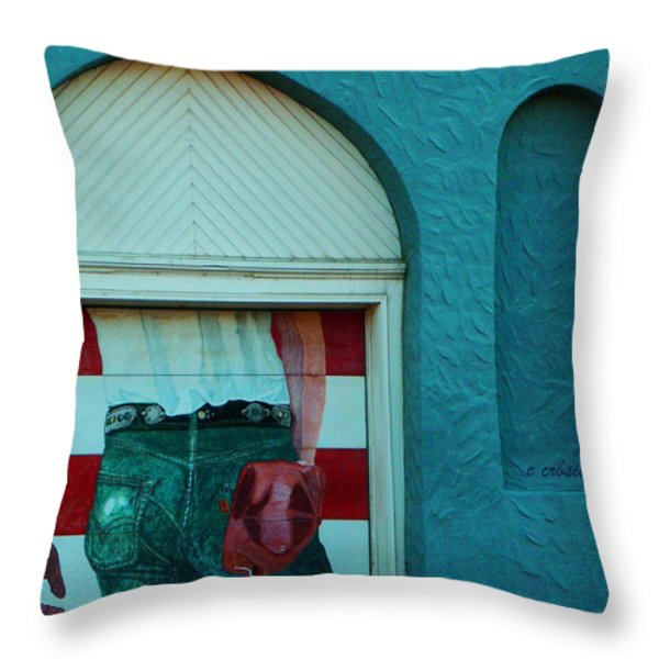 Iconic Urban Mural Throw Pillow by Chris Berry