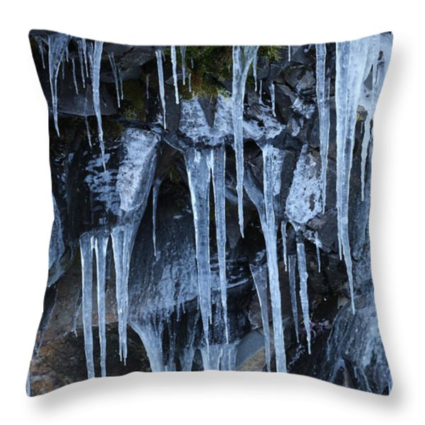 Icycles On Cliff Throw Pillow by Carol Groenen