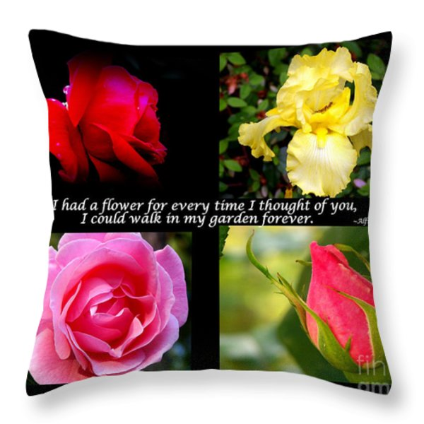 If I Had A Flower Collage Throw Pillow by Kathy  White