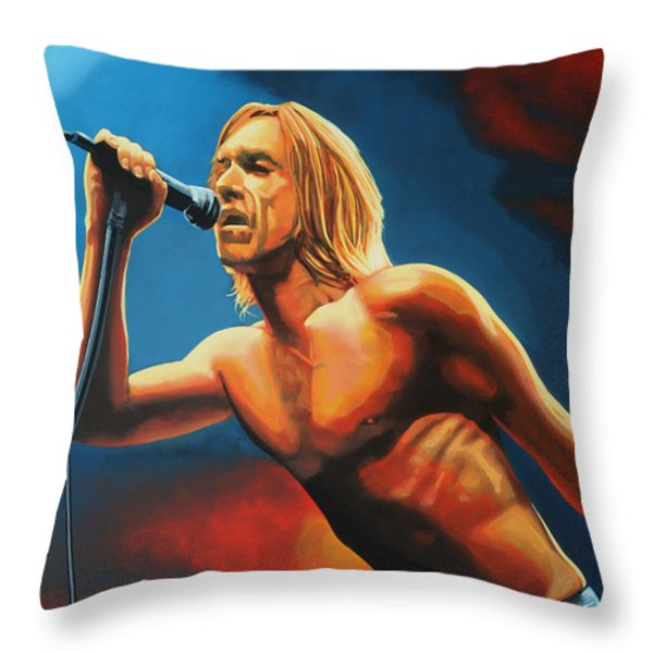 Iggy Pop Throw Pillow by Paul  Meijering