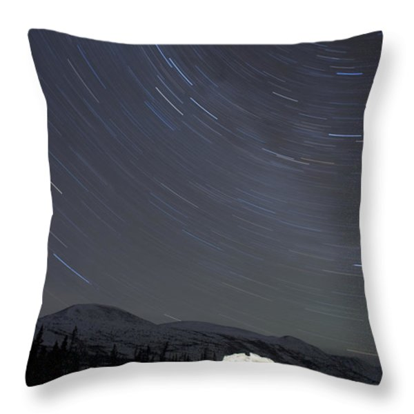 Igloo And Star Trails, Kusawa Lake Throw Pillow by Peter Mather