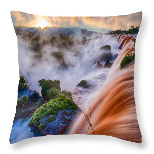 Iguazu Sunrise Throw Pillow by Inge Johnsson