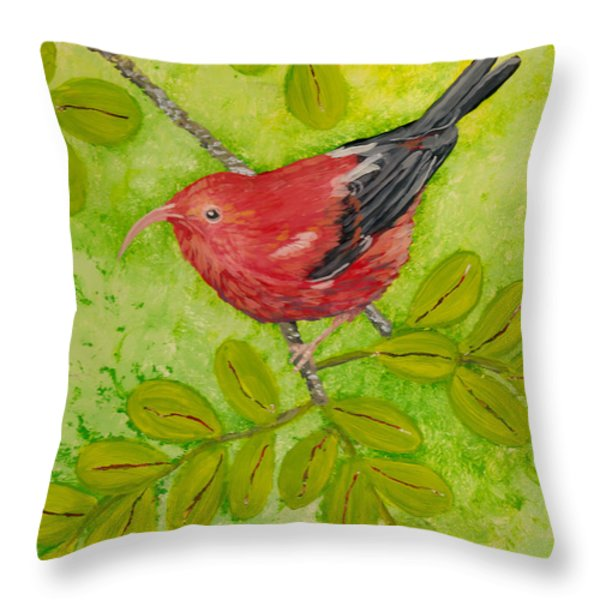 'I'iwi Throw Pillow by Anna Skaradzinska