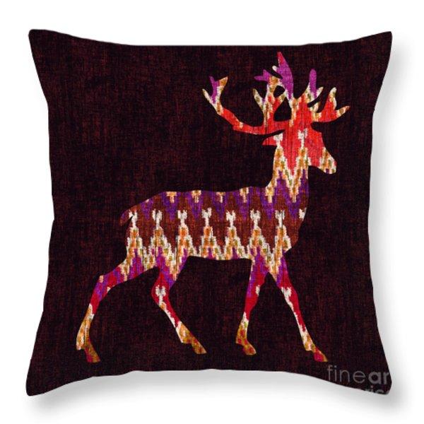 Ikat deer Throw Pillow by Budi Satria Kwan