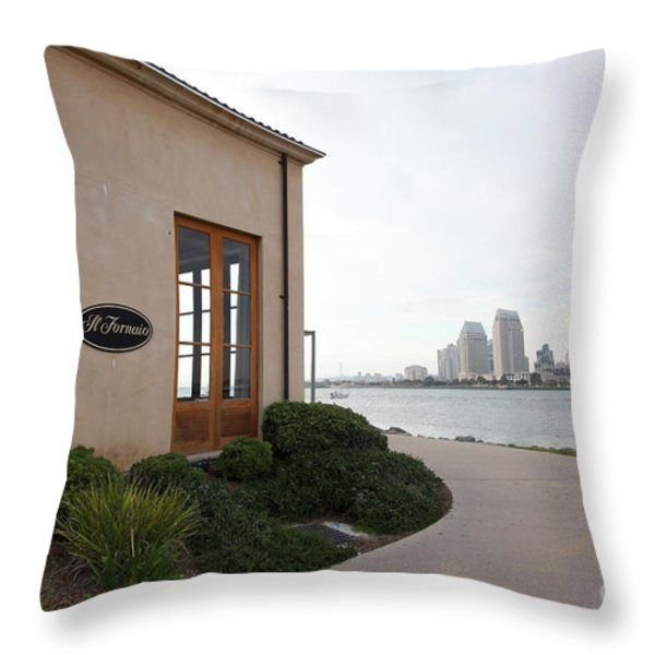 Il Fornaio Italian Restaurant In Coronado California Overlooking The San Diego Skyline 5D24364 Throw Pillow by Wingsdomain Art and Photography