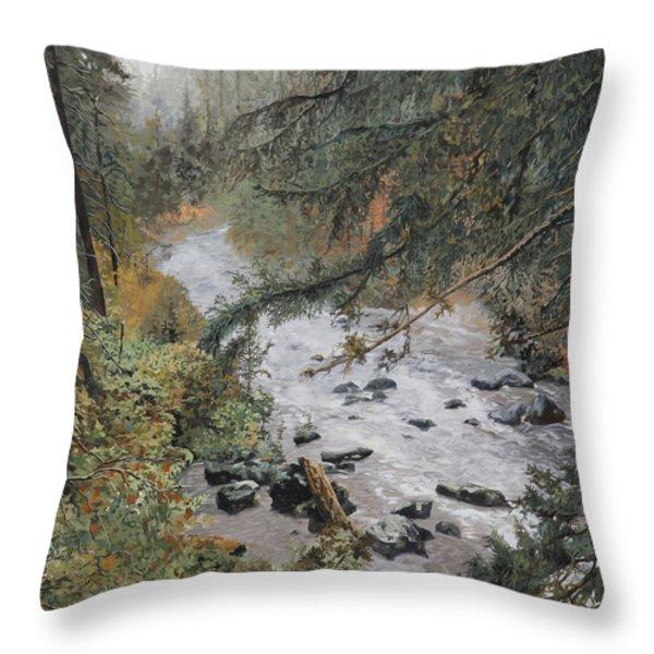 Il Ruscello Di Montagna Throw Pillow by Guido Borelli