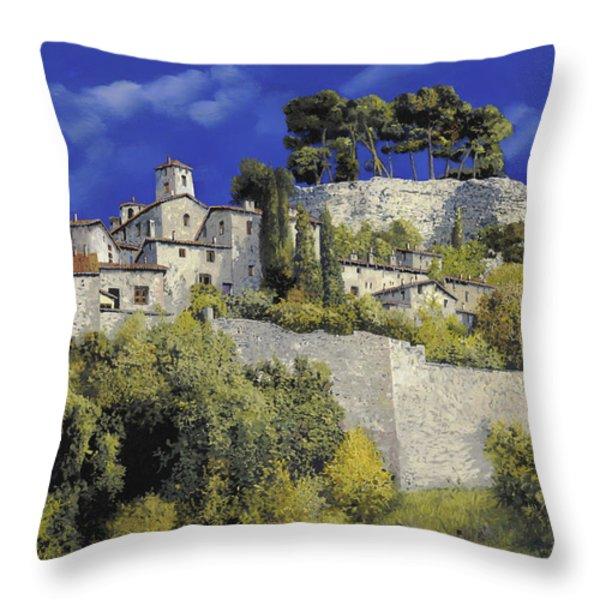 il villaggio in blu Throw Pillow by Guido Borelli