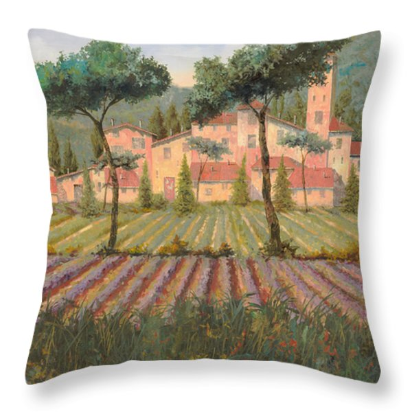 il villaggio tra i campi di lavanda Throw Pillow by Guido Borelli