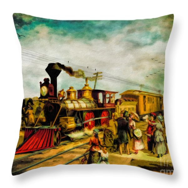 Illinois Central Railroad 1882 Throw Pillow by Lianne Schneider