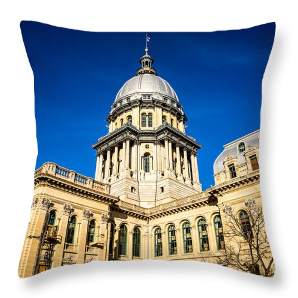 Illinois State Capitol Building In Springfield Throw Pillow by Paul Velgos