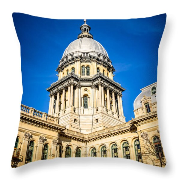Illinois State Capitol In Springfield Illinois Throw Pillow by Paul Velgos