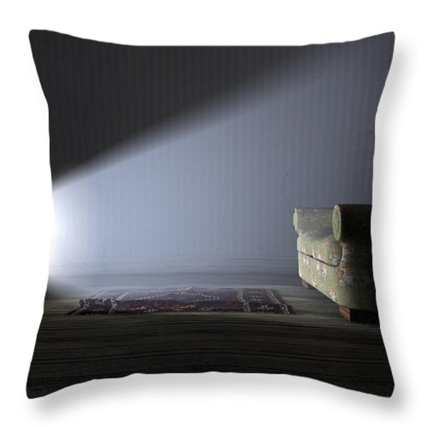 Illuminated Television And Lonely Old Couch Throw Pillow by Allan Swart