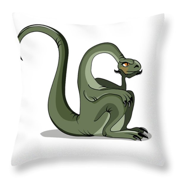 Illustration Of A Brontosaurus Thinking Throw Pillow by Stocktrek Images