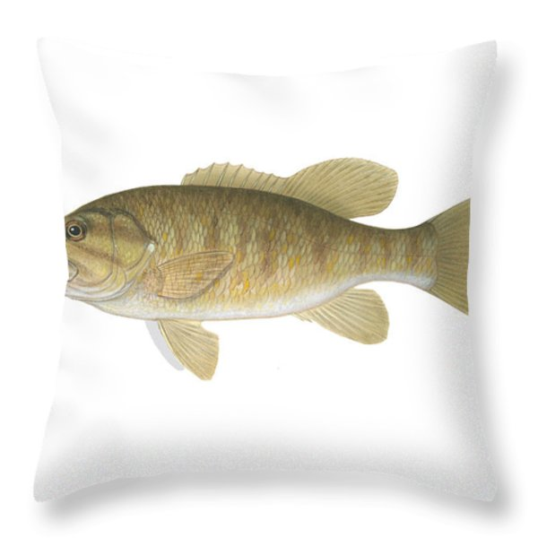 Illustration Of A Smallmouth Bass Throw Pillow by Carlyn Iverson