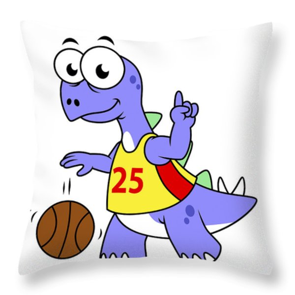 Illustration Of A Stegosaurus Playing Throw Pillow by Stocktrek Images